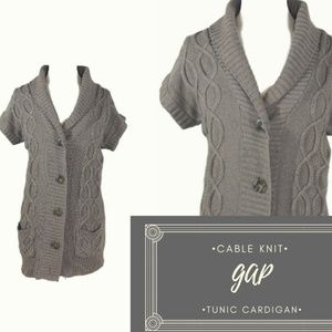 Gap Brown Cable Knit Short Sleeve Tunic Cardigan M